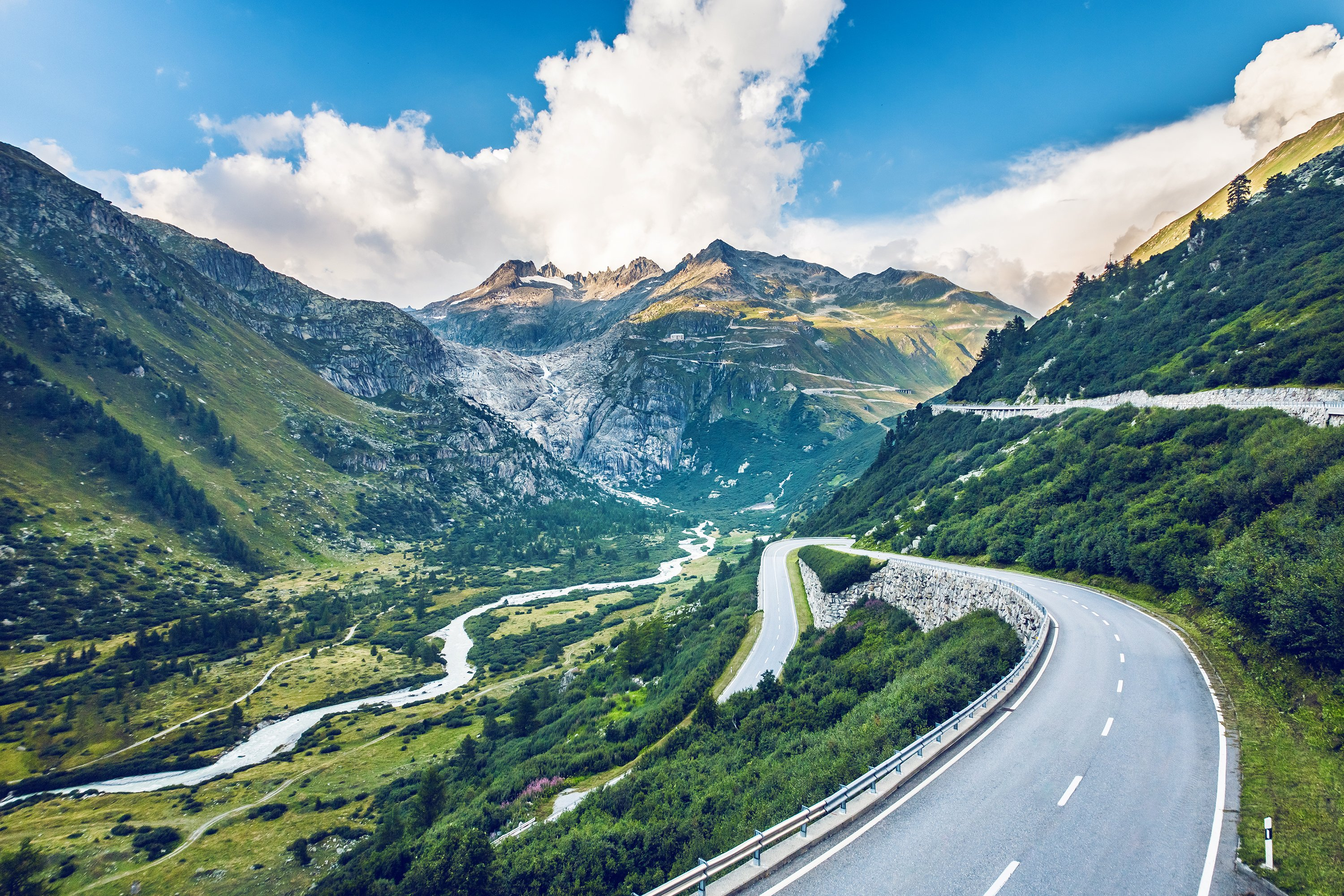 From the village of Oberwald at the very top of the Goms Valley to the summit of the Furka Pass, this road is one of the highest passes in Switzerland, connecting the canton of Valley with the canton of Uri.