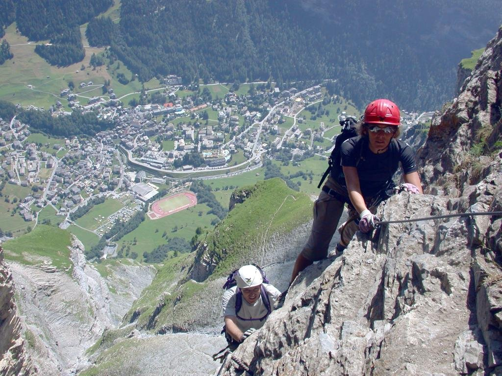 The small Daubenhorn via ferrata consist of the first part of the great Daubenhorn Via Ferrata. For those unwilling (or not quite able) to go the whole way there's also an opportunity to go back down to Leukerbad about 1/3 of the way into the tour.